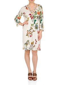 Etro - White floral dress with V-neck