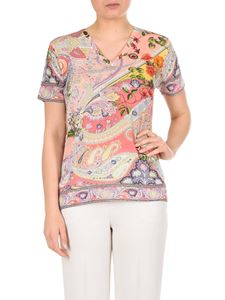 Etro - Pink Paisley T-shirt with V-neck