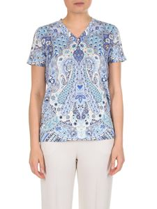 Etro - Light blue Paisley T-shirt with V-neck