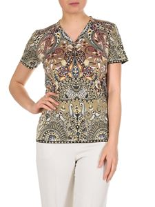 Etro - Beige Paisley T-shirt with V-neck