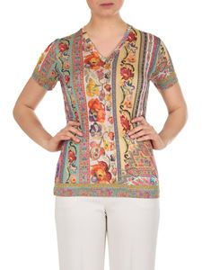 Etro - Multicolor Paisley T-shirt with V-neck