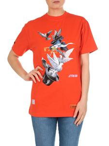Heron Preston - Orange T-shirt with doves print