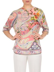 Etro - Oversize pink t-shirt with Paisley and floral print