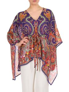 Etro - Purple and multicolor Paisley poncho
