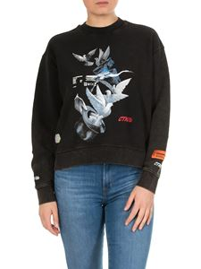 Heron Preston - Doves printed sweatshirt in black delavè