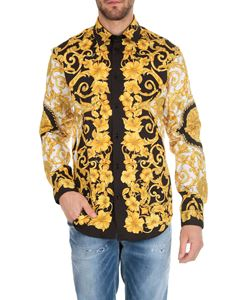 Versace - Gold Hibiscus printed shirt in yellow and black