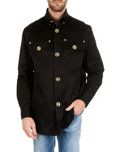 Versace - Black shirt with golden Medusa buttons