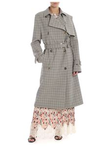 Paco Rabanne - Checked wool trench coat in shades of brown