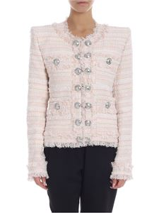 Balmain - Tweet jacket in white and pink with lamè insert
