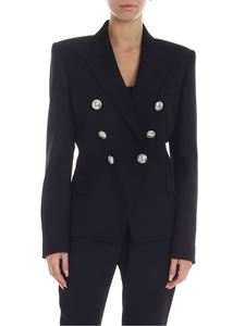 Balmain - Virgin wool double-breasted jacket in black