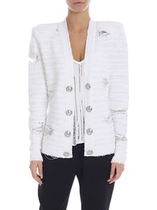 Balmain - Vintage effect knit jacket in white