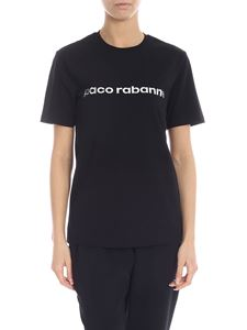 Paco Rabanne - T-shirt in black with silver laminated logo
