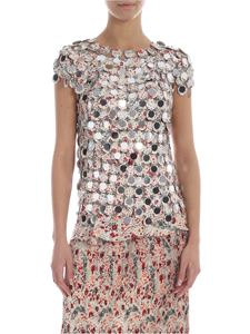 Paco Rabanne - Top in silver printed maxi sequins