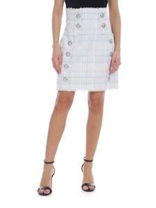 Balmain - High-waisted tweed skirt in white light blue and pink