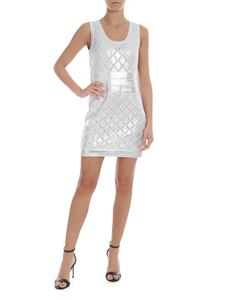 Balmain - Openwork knit dress in white and silver color