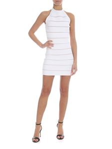 Balmain - Knit dress in white with striped pattern