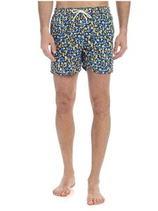 MC2 Saint Barth - Full Flower boxer swimsuit in blue