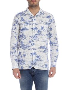 Bagutta - White and blue shirt with palms print