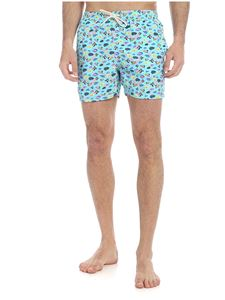 MC2 Saint Barth - Fish World boxer swimsuit in light blue