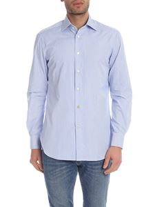 Kiton - Light blue and white striped shirt