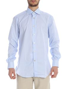 Kiton - Shirt in blue and white micro check
