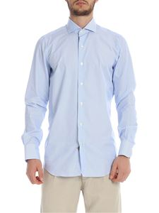 Finamore 1925 - 170/2M shirt in white and light blue