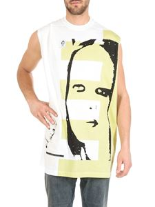 Rick Owens DRKSHDW  - Babel Tarp top in white and yellow