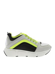 Vic Matiè - Sneakers in white and fluo yellow with logo