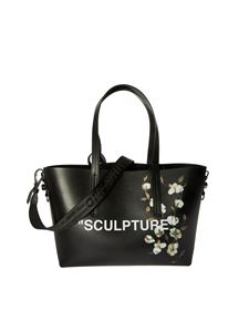 Off-White - Shopper bag in black with Cotton Flower print