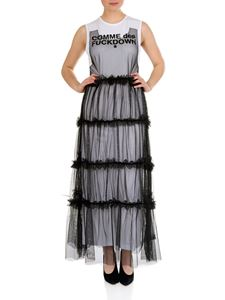 Comme des Fuckdown - Long dress in white jersey and black tulle