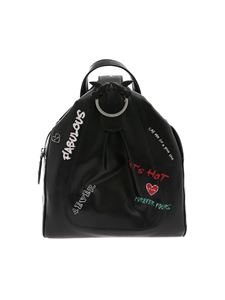 Pinko - Guernica backpack in black with graffiti print