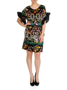 Shirtaporter - Short ruffle dress in black and multicolor