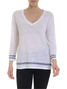 Majestic Filatures - Sweater in white linen with blue denim edges