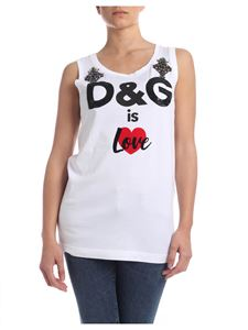 Dolce & Gabbana - Top in white with logo and jewel details