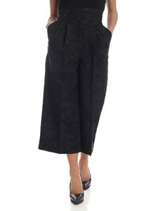 Dolce & Gabbana - Wide leg trousers in black with leaves embroidery