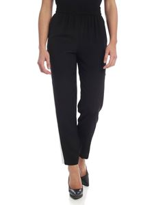 Red Valentino - Trousers in black silk with side bands