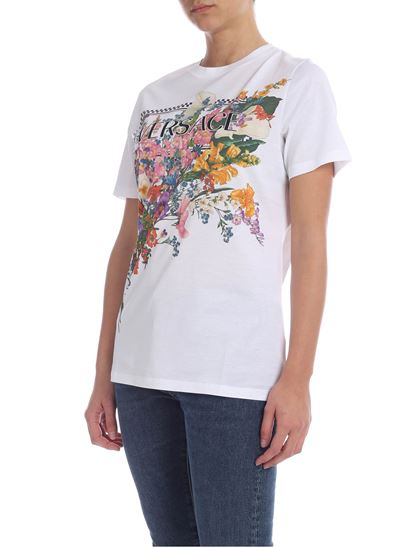 aa61b271 Versace Spring Summer 2019 90's t-shirt in white with floral print ...