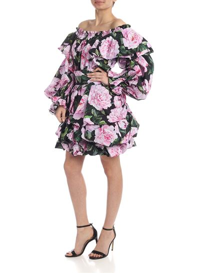 e10fbf398d0 Dolce & Gabbana Spring Summer 2019 off-shoulders dress with pink and ...