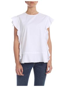 Red Valentino - Top in white with ruffles