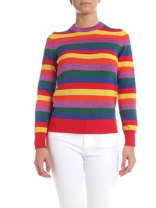 Moncler - Pullover multicolor a righe con patch logo