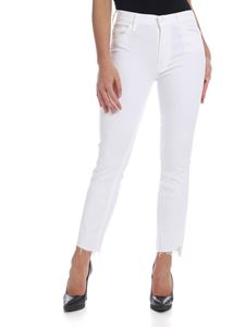 Mother - Insider Crop Step Fray jeans in white