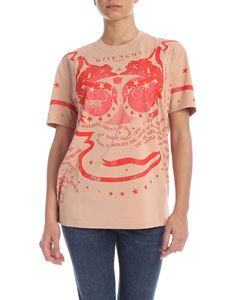 Givenchy - T-shirt color nudo con stampa rossa