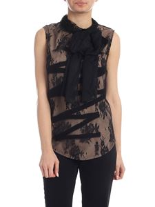 Moschino - Black embroidered tulle top
