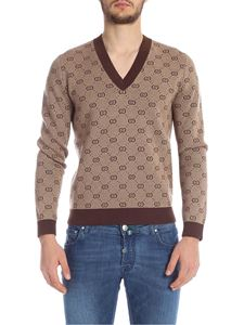Gucci - Pullover marrone monogram Gucci