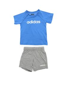 Adidas - T-shirt and bermuda in light blue and grey