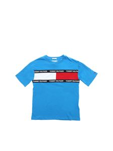 Tommy Hilfiger - T-shirt in light blue with tricolor logo