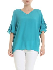 Twin-Set - Blouse with flounces in turquoise