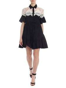Twin-Set - Dress in black with lace insert