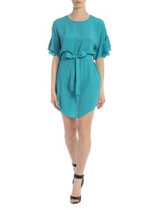Twin-Set - Dress in turquoise with ruffles