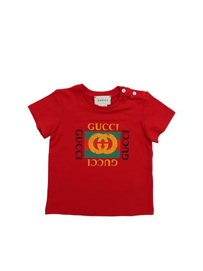 b074fa8d40e Gucci Spring Summer 2019 t-shirt in red with gucci print - 497845 ...